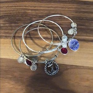 Assorted Alex and Ani bracelets